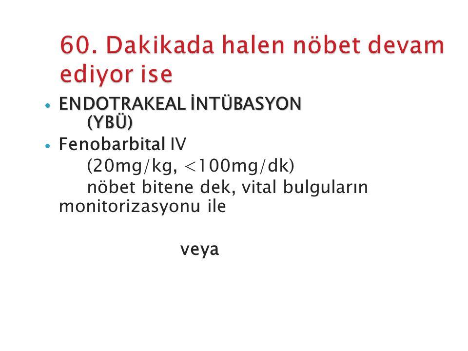 ENDOTRAKEAL İNTÜBASYON (YBÜ) ENDOTRAKEAL İNTÜBASYON (YBÜ) Fenobarbital IV (20mg/kg, <100mg/dk) nöbet bitene dek, vital bulguların monitorizasyonu ile veya