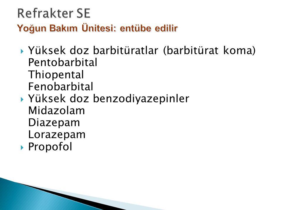  Yüksek doz barbitüratlar (barbitürat koma) Pentobarbital Thiopental Fenobarbital  Yüksek doz benzodiyazepinler Midazolam Diazepam Lorazepam  Propo