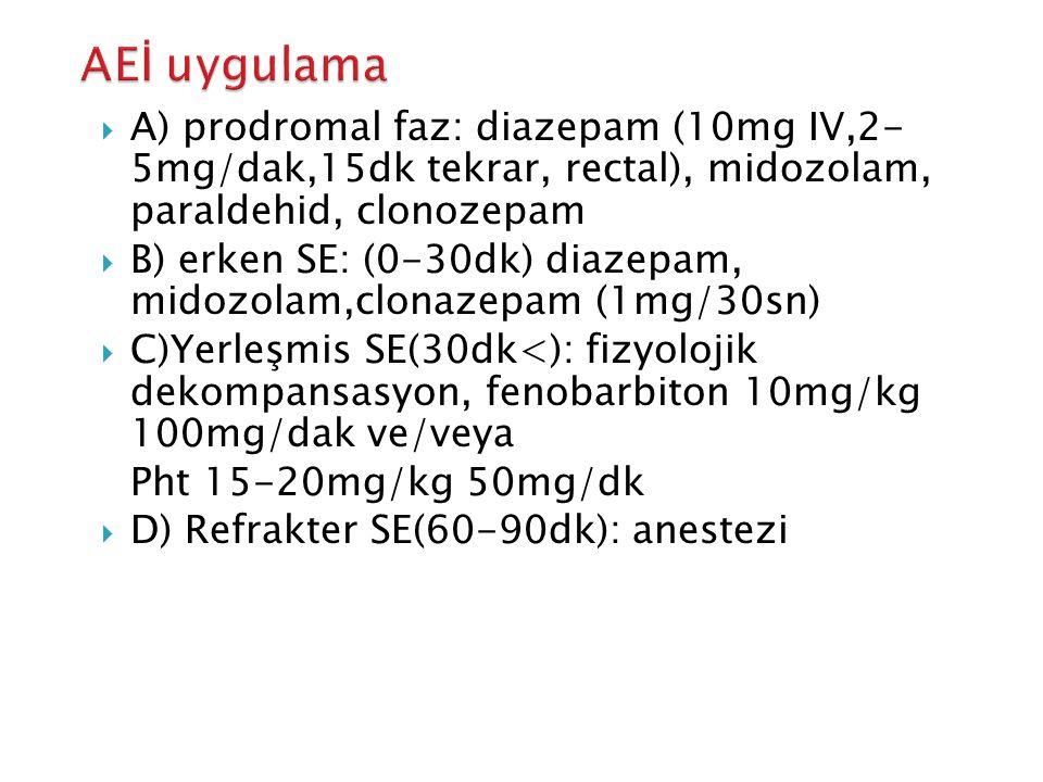  A) prodromal faz: diazepam (10mg IV,2- 5mg/dak,15dk tekrar, rectal), midozolam, paraldehid, clonozepam  B) erken SE: (0-30dk) diazepam, midozolam,clonazepam (1mg/30sn)  C)Yerleşmis SE(30dk<): fizyolojik dekompansasyon, fenobarbiton 10mg/kg 100mg/dak ve/veya Pht 15-20mg/kg 50mg/dk  D) Refrakter SE(60-90dk): anestezi