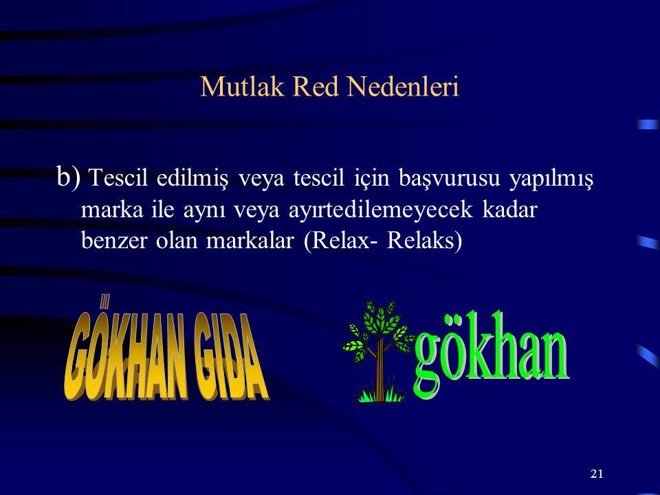 21 b) Tescil edilmiş veya tescil için başvurusu yapılmış marka ile aynı veya ayırtedilemeyecek kadar benzer olan markalar (Relax- Relaks) Mutlak Red N