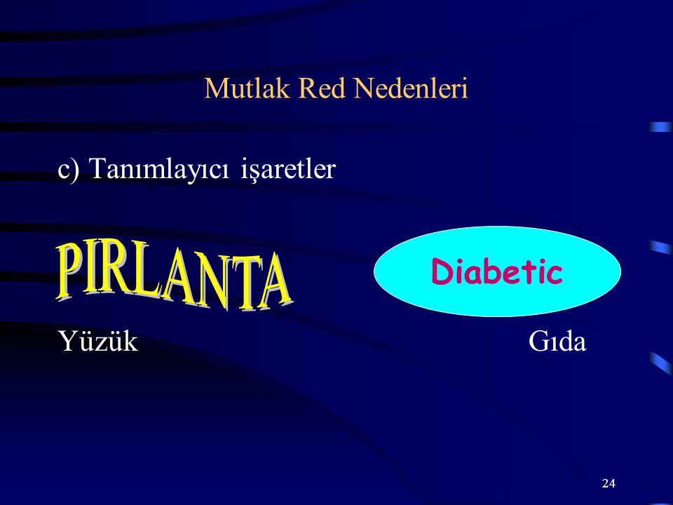 24 c) Tanımlayıcı işaretler YüzükGıda Diabetic Mutlak Red Nedenleri