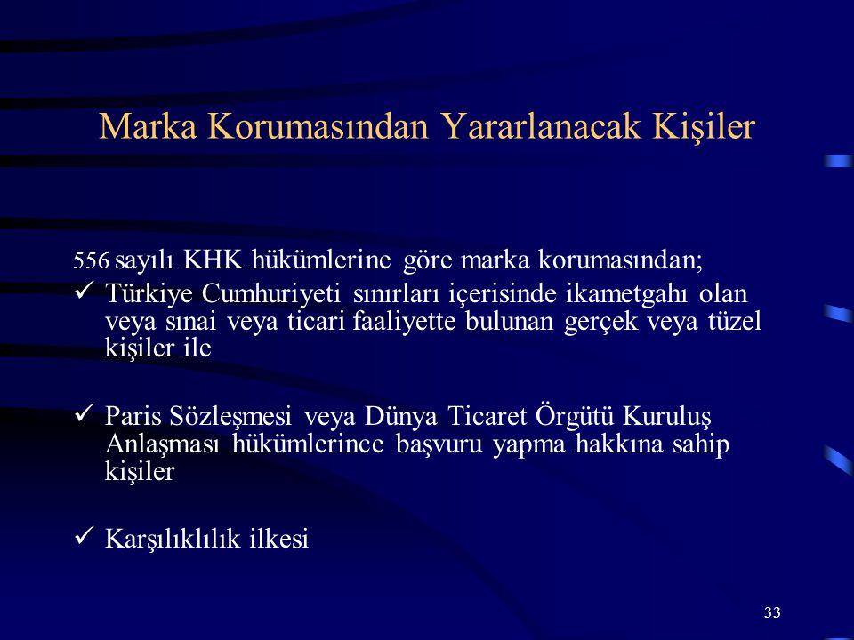 33 556 sayılı KHK hükümlerine göre marka korumasından; Türkiye Cumhuriyeti sınırları içerisinde ikametgahı olan veya sınai veya ticari faaliyette bulu