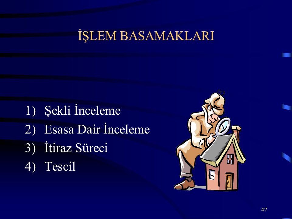 47 1)Şekli İnceleme 2)Esasa Dair İnceleme 3)İtiraz Süreci 4)Tescil İŞLEM BASAMAKLARI