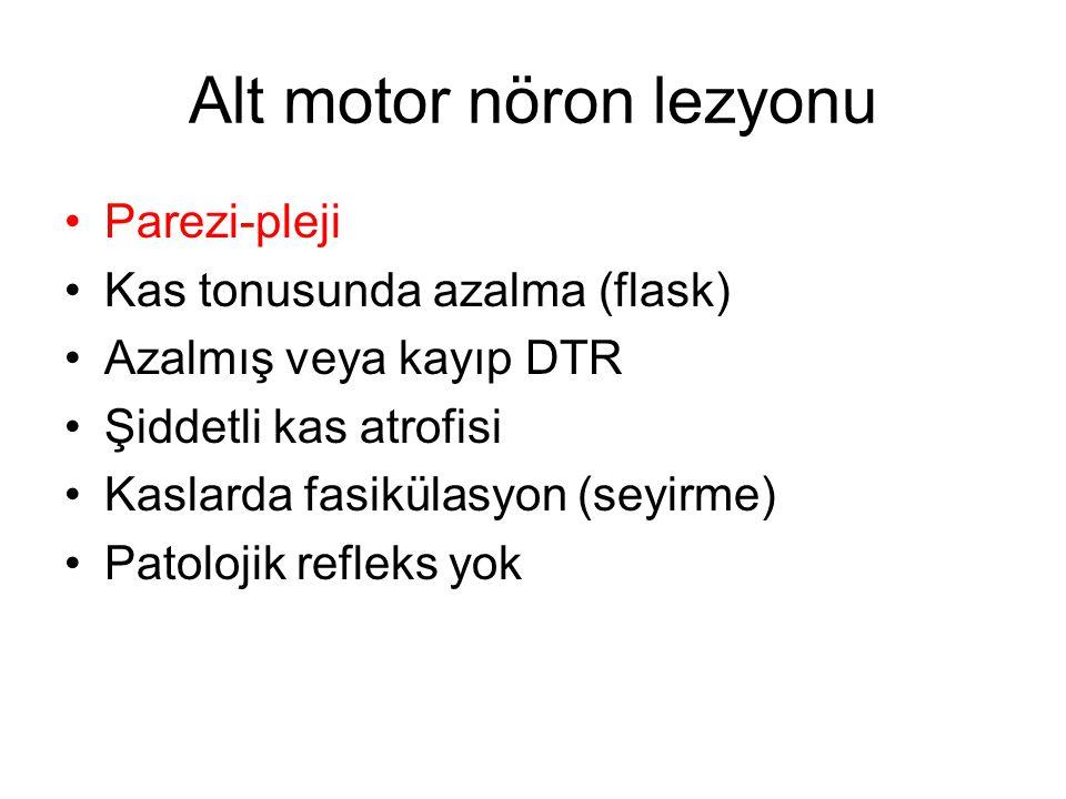 Alt motor nöron lezyonu Parezi-pleji Kas tonusunda azalma (flask) Azalmış veya kayıp DTR Şiddetli kas atrofisi Kaslarda fasikülasyon (seyirme) Patolojik refleks yok
