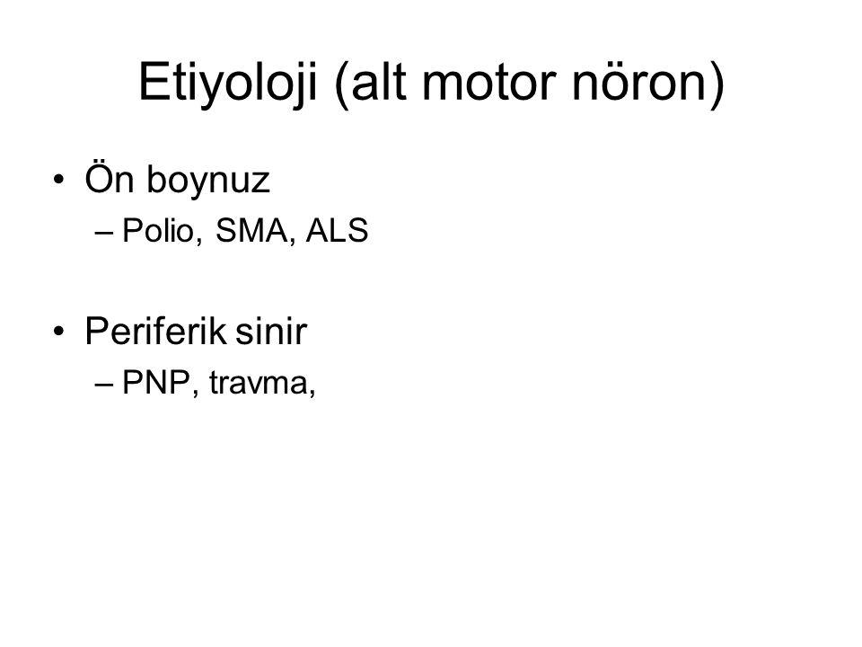 Etiyoloji (alt motor nöron) Ön boynuz –Polio, SMA, ALS Periferik sinir –PNP, travma,