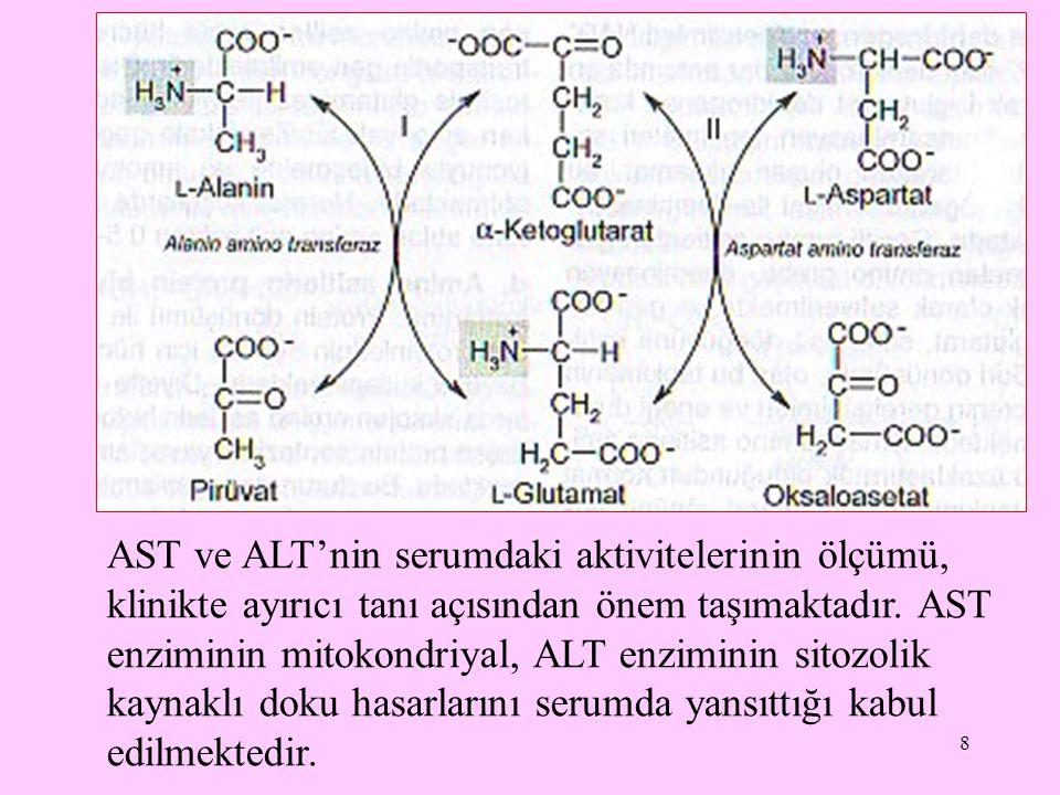 8 AST ve ALT'nin serumdaki aktivitelerinin ölçümü, klinikte ayırıcı tanı açısından önem taşımaktadır. AST enziminin mitokondriyal, ALT enziminin sitoz