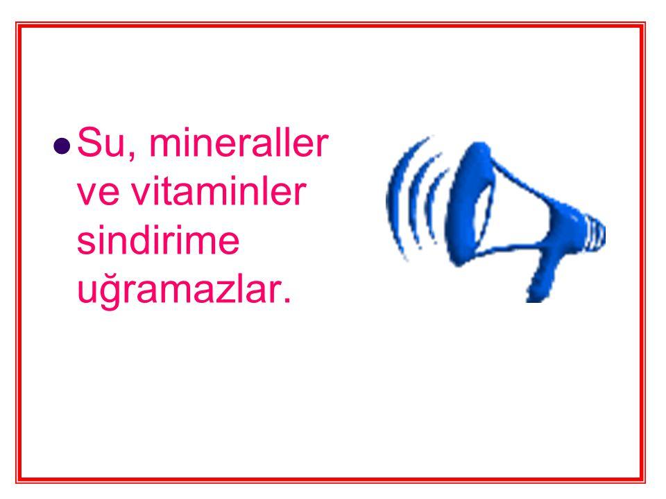 Su, mineraller ve vitaminler sindirime uğramazlar.