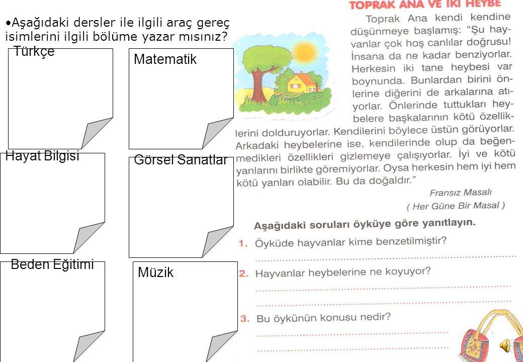 Mitat Zorlu 2 Aşağıdaki dersler ile ilgili araç gereç isimlerini ilgili bölüme yazar mısınız.