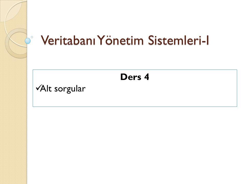 Bir alt sorgu (subquery) bir SELECT sorgusunun içine yazılan ikinci bir SELECT sorgusudur.