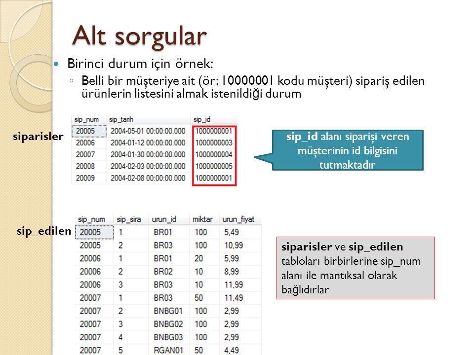 Alt sorgular Normalde bir müşteriye ait siparişi almak için gereken SQL sorgusu Bu müşteriye ait siparişlerin numaraları (sip_edilen tablosunu sorgulamak için kullanılacak)