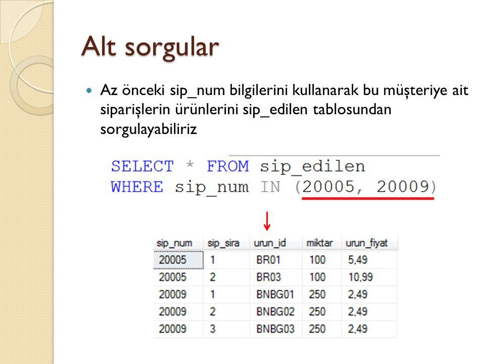Alt sorgular Ürünler tablosunda herhangi bir ürünü bulunan satıcıların tüm bilgilerini listelemek istedi ğ imizi düşünelim Herhangi bir satıcının (ör: DLL01 kodlu satıcı) ürünü olup olmadı ğ ını veren sorgu ◦ SELECT * FROM urunler WHERE satici_id = 'DLL01' ◦ Bu sorgu sonuç döndürürse ürünü var, sonuç döndürmezse ürünü yok demektir ◦ Bu sorgunun tüm satıcıları döndüren listeye adapte edilerek, satıcıların bu şarta göre listelenmesi gerekmektedir