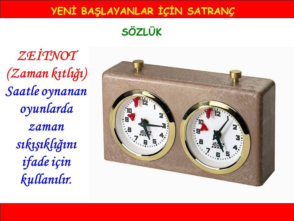 YENİ BAŞLAYANLAR İÇİN SATRANÇ SÖZLÜK ZEİTNOT (Zaman kıtlığı) Saatle oynanan oyunlarda zaman sıkışıklığını ifade için kullanılır.