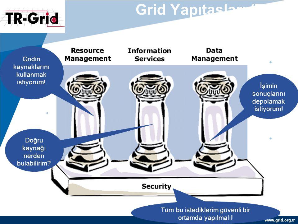 www.grid.org.tr Grid Yapıtaşları (Temel Servisler) Gridin kaynaklarını kullanmak istiyorum! Doğru kaynağı nerden bulabilirim? İşimin sonuçlarını depol