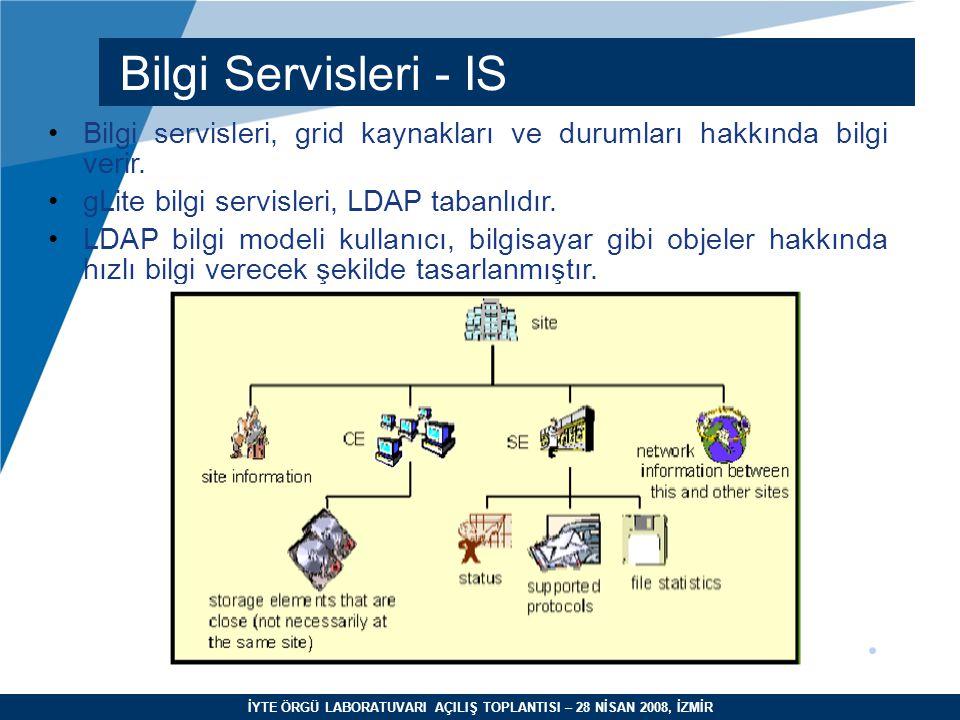 İYTE ÖRGÜ LABORATUVARI AÇILIŞ TOPLANTISI – 28 NİSAN 2008, İZMİR Bilgi Servisleri - IS Bilgi servisleri, grid kaynakları ve durumları hakkında bilgi ve