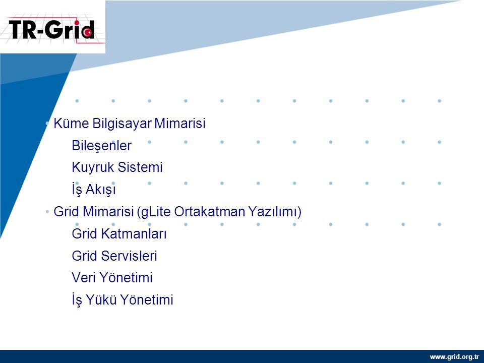 www.grid.org.tr İÇERİK Küme Bilgisayar Mimarisi Bileşenler Kuyruk Sistemi İş Akışı Grid Mimarisi (gLite Ortakatman Yazılımı) Grid Katmanları Grid Servisleri Veri Yönetimi İş Yükü Yönetimi