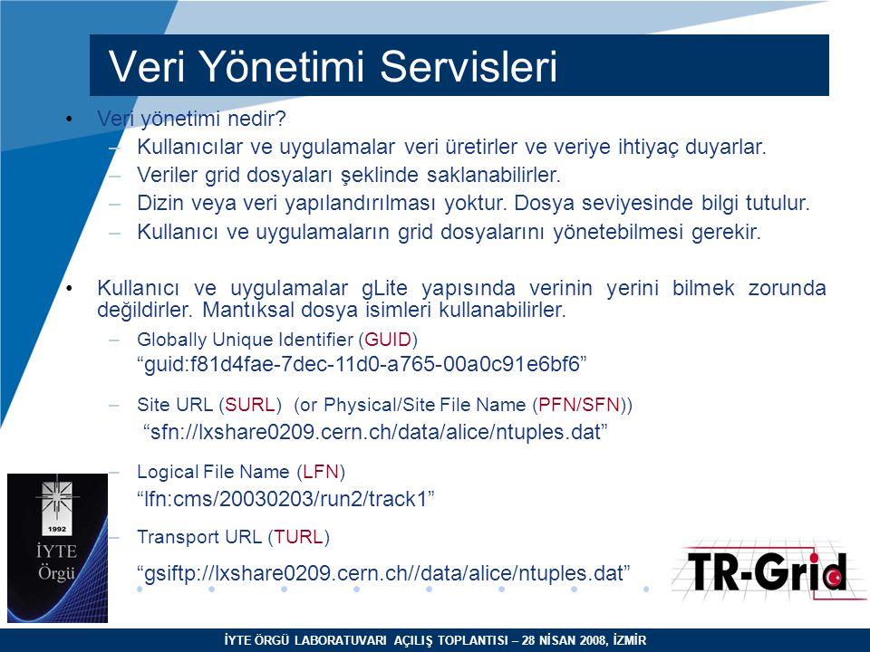 İYTE ÖRGÜ LABORATUVARI AÇILIŞ TOPLANTISI – 28 NİSAN 2008, İZMİR Veri Yönetimi Servisleri Veri yönetimi nedir? –Kullanıcılar ve uygulamalar veri üretir