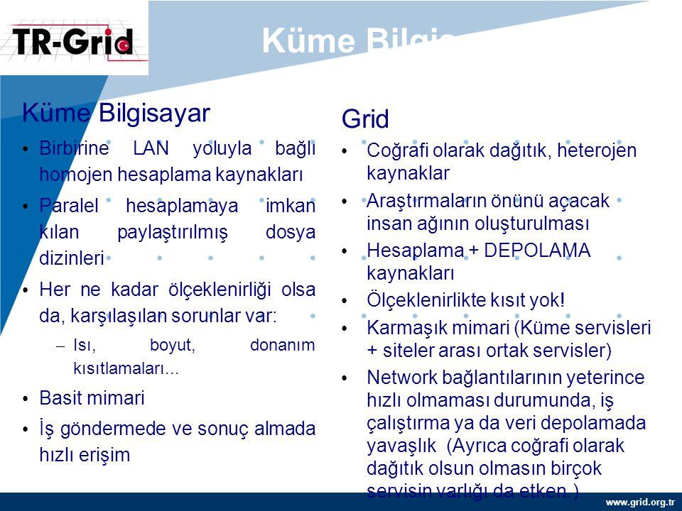 www.grid.org.tr Küme Bilgisayar ve Grid... Küme Bilgisayar Birbirine LAN yoluyla bağlı homojen hesaplama kaynakları Paralel hesaplamaya imkan kılan pa