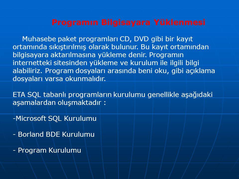 Programın Bilgisayara Yüklenmesi Muhasebe paket programları CD, DVD gibi bir kayıt ortamında sıkıştırılmış olarak bulunur. Bu kayıt ortamından bilgisa