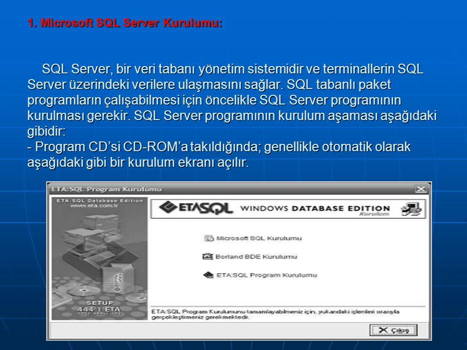 1. Microsoft SQL Server Kurulumu: SQL Server, bir veri tabanı yönetim sistemidir ve terminallerin SQL Server üzerindeki verilere ulaşmasını sağlar. SQ