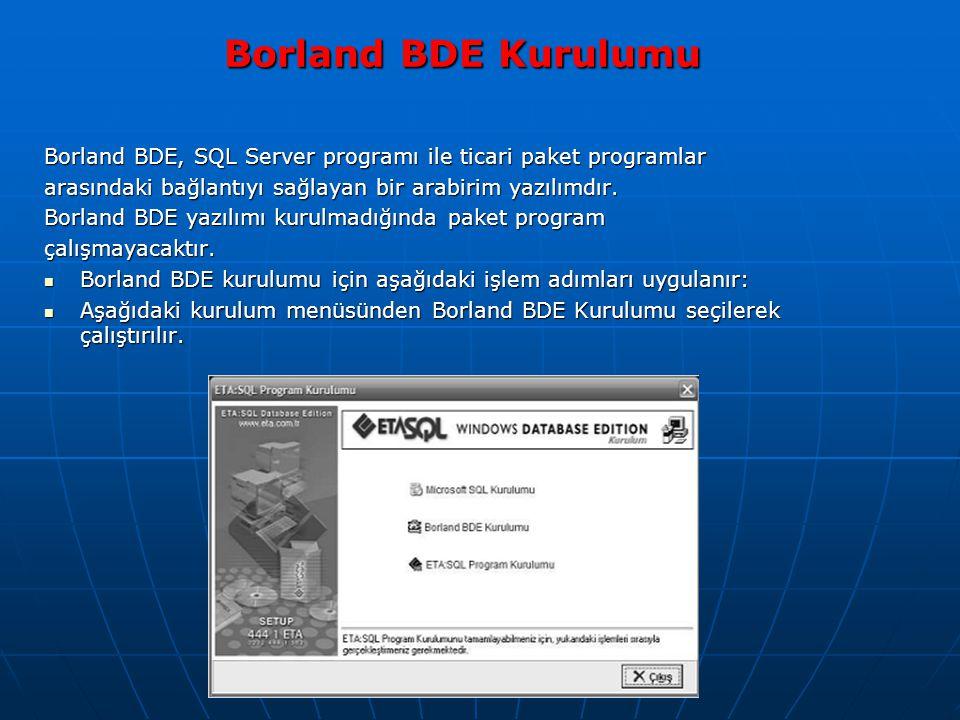 Borland BDE Kurulumu Borland BDE Kurulumu Borland BDE, SQL Server programı ile ticari paket programlar arasındaki bağlantıyı sağlayan bir arabirim yazılımdır.