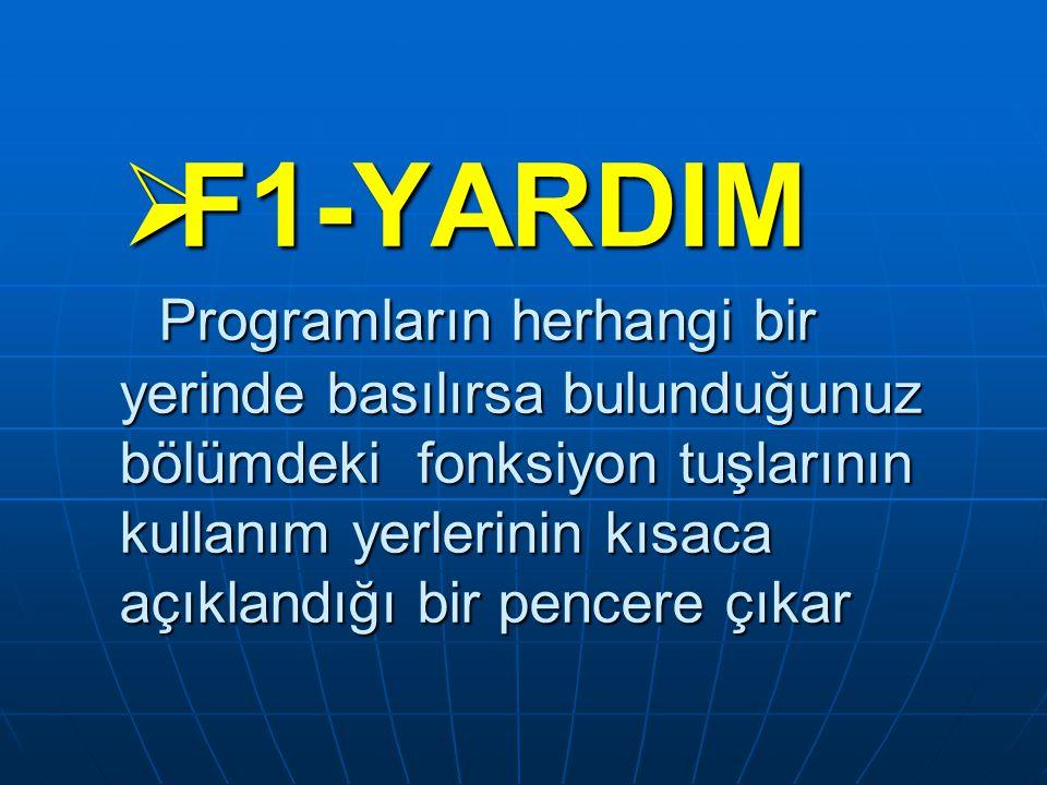  F1-YARDIM Programların herhangi bir yerinde basılırsa bulunduğunuz bölümdeki fonksiyon tuşlarının kullanım yerlerinin kısaca açıklandığı bir pencere çıkar