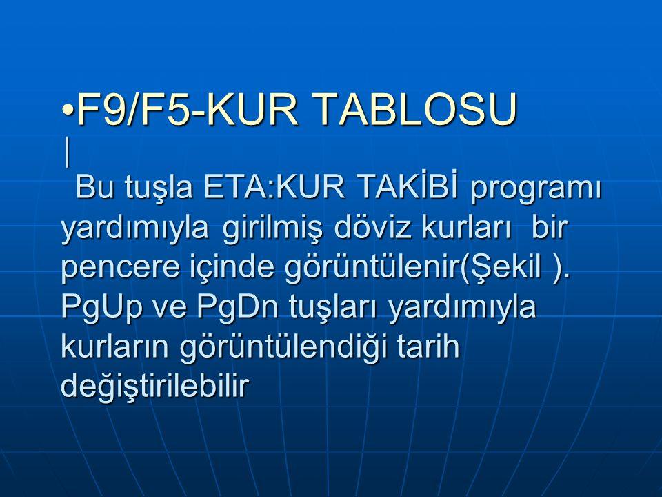F9/F5-KUR TABLOSU │ Bu tuşla ETA:KUR TAKİBİ programı yardımıyla girilmiş döviz kurları bir pencere içinde görüntülenir(Şekil ). PgUp ve PgDn tuşları y