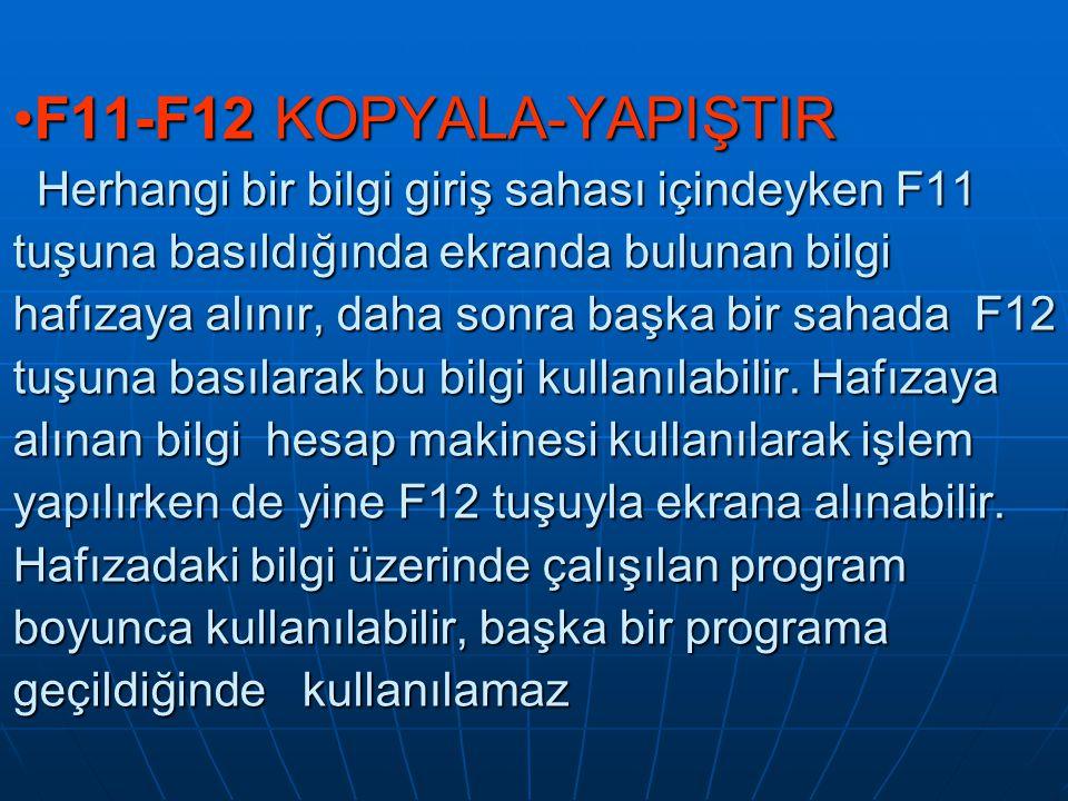 F11-F12 KOPYALA-YAPIŞTIR Herhangi bir bilgi giriş sahası içindeyken F11 tuşuna basıldığında ekranda bulunan bilgi hafızaya alınır, daha sonra başka bi