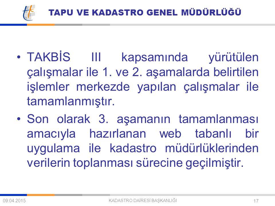 TAPU VE KADASTRO GENEL MÜDÜRLÜĞÜ 17 TAKBİS III kapsamında yürütülen çalışmalar ile 1. ve 2. aşamalarda belirtilen işlemler merkezde yapılan çalışmalar