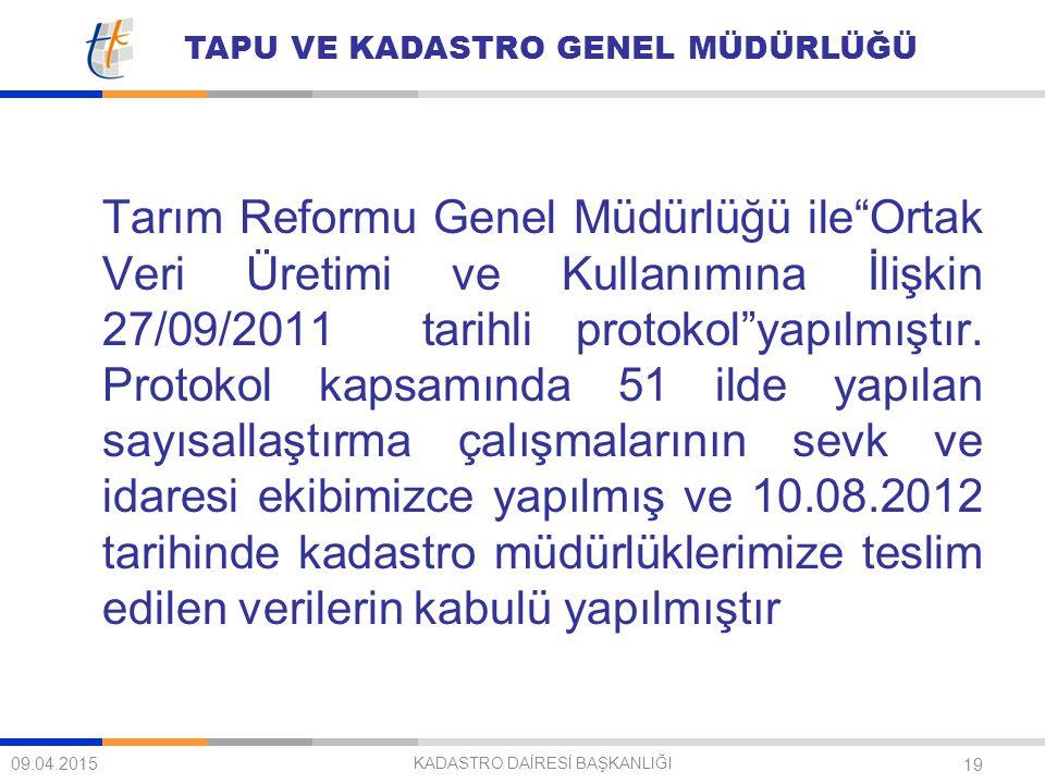 """TAPU VE KADASTRO GENEL MÜDÜRLÜĞÜ 19 Tarım Reformu Genel Müdürlüğü ile""""Ortak Veri Üretimi ve Kullanımına İlişkin 27/09/2011 tarihli protokol""""yapılmıştı"""