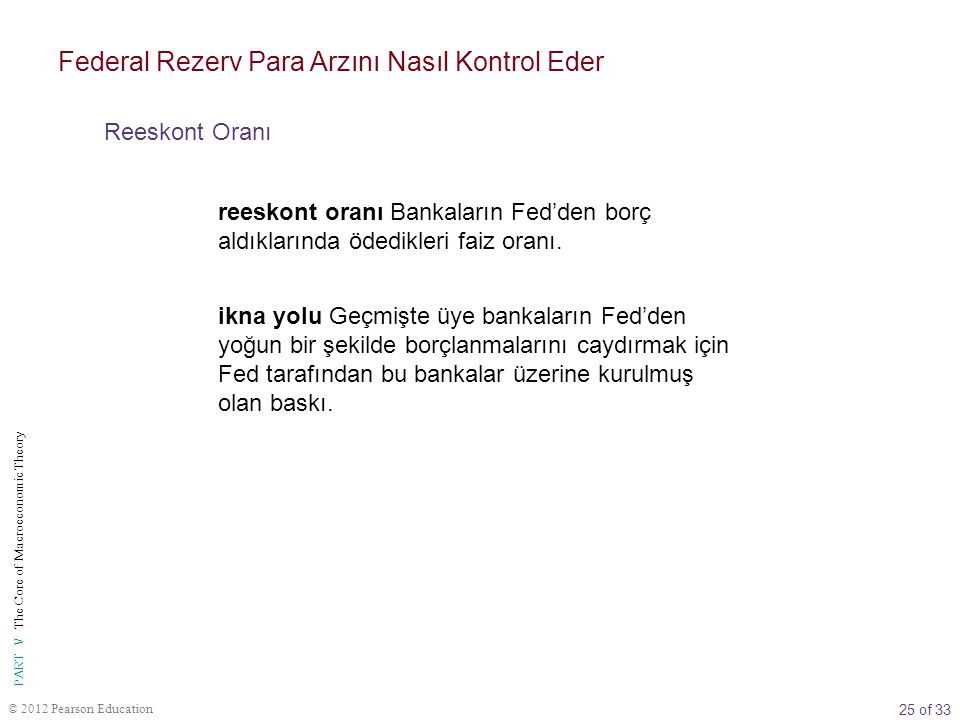 25 of 33 PART V The Core of Macroeconomic Theory © 2012 Pearson Education reeskont oranı Bankaların Fed'den borç aldıklarında ödedikleri faiz oranı. F