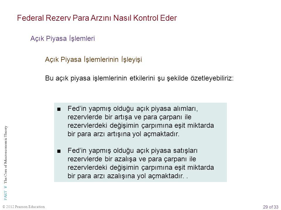29 of 33 PART V The Core of Macroeconomic Theory © 2012 Pearson Education ■Fed'in yapmış olduğu açık piyasa alımları, rezervlerde bir artışa ve para ç
