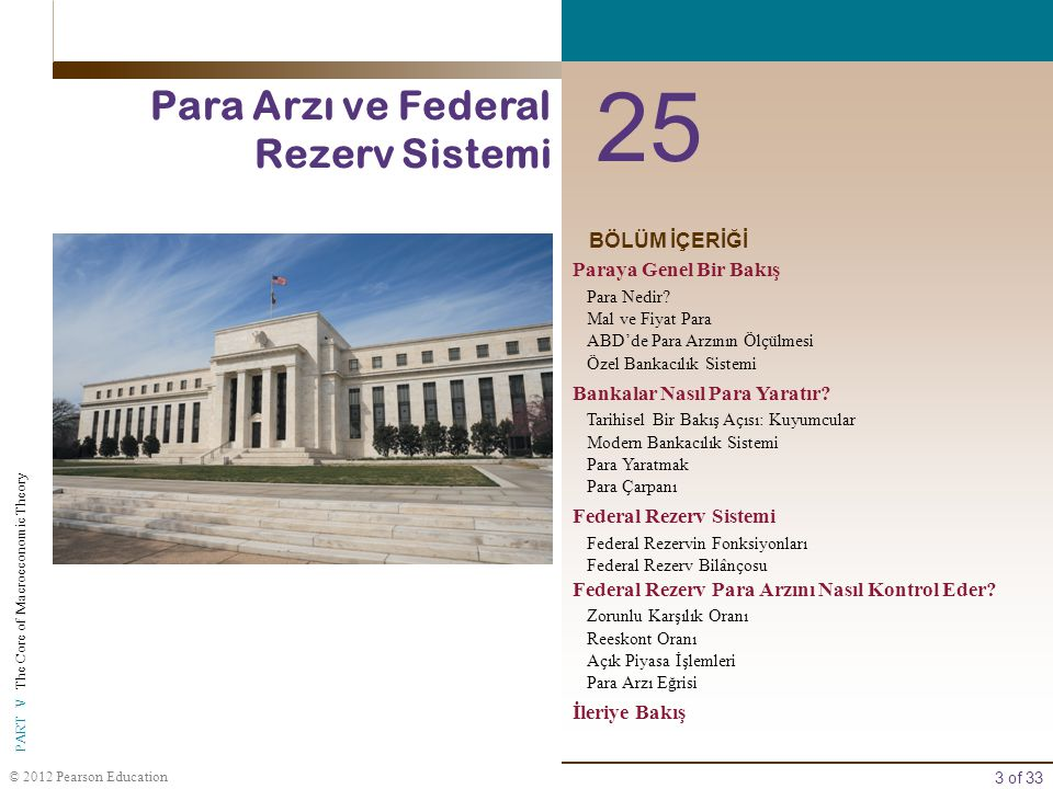 3 of 33 PART V The Core of Macroeconomic Theory © 2012 Pearson Education BÖLÜM İÇERİĞİ 25 Para Arzı ve Federal Rezerv Sistemi Paraya Genel Bir Bakış P