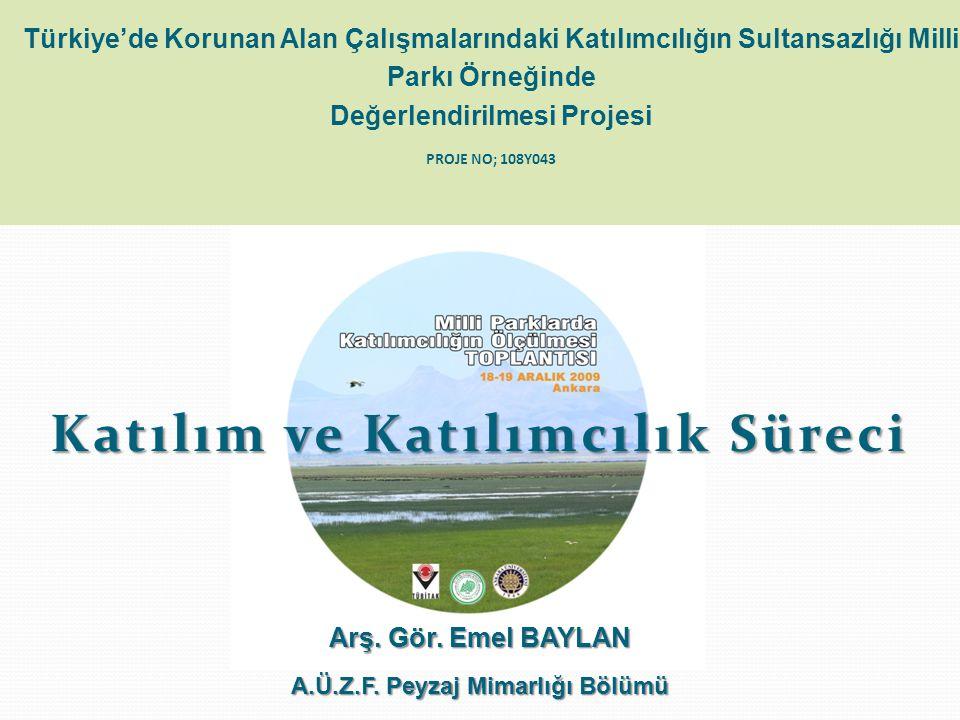 Türkiye'de Korunan Alan Çalışmalarındaki Katılımcılığın Sultansazlığı Milli Parkı Örneğinde Değerlendirilmesi Projesi PROJE NO; 108Y043 Katılım ve Katılımcılık Süreci Arş.