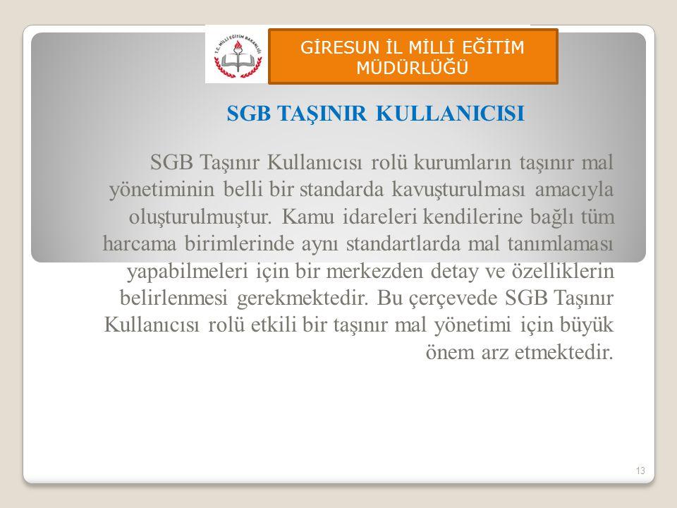 SGB Taşınır Kullanıcısı rolü kurumların taşınır mal yönetiminin belli bir standarda kavuşturulması amacıyla oluşturulmuştur. Kamu idareleri kendilerin