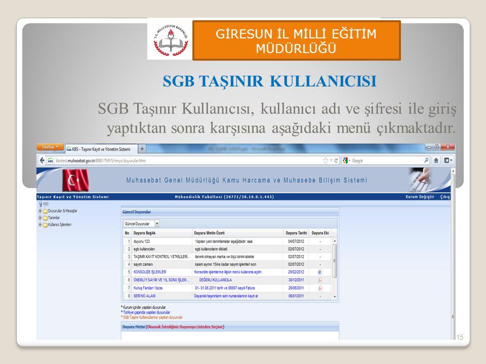 SGB Taşınır Kullanıcısı, kullanıcı adı ve şifresi ile giriş yaptıktan sonra karşısına aşağıdaki menü çıkmaktadır. 15 SGB TAŞINIR KULLANICISI GİRESUN İ