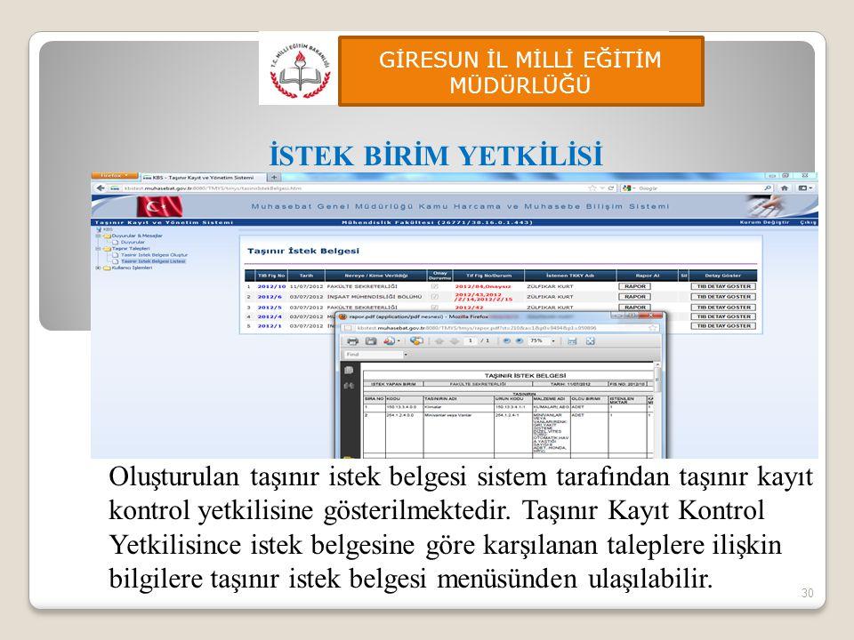 30 İSTEK BİRİM YETKİLİSİ Oluşturulan taşınır istek belgesi sistem tarafından taşınır kayıt kontrol yetkilisine gösterilmektedir. Taşınır Kayıt Kontrol