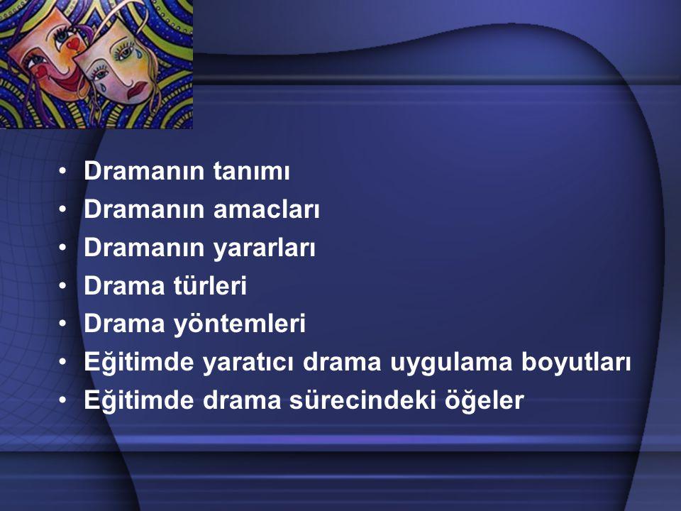 Dramanın tanımı Dramanın amacları Dramanın yararları Drama türleri Drama yöntemleri Eğitimde yaratıcı drama uygulama boyutları Eğitimde drama sürecind