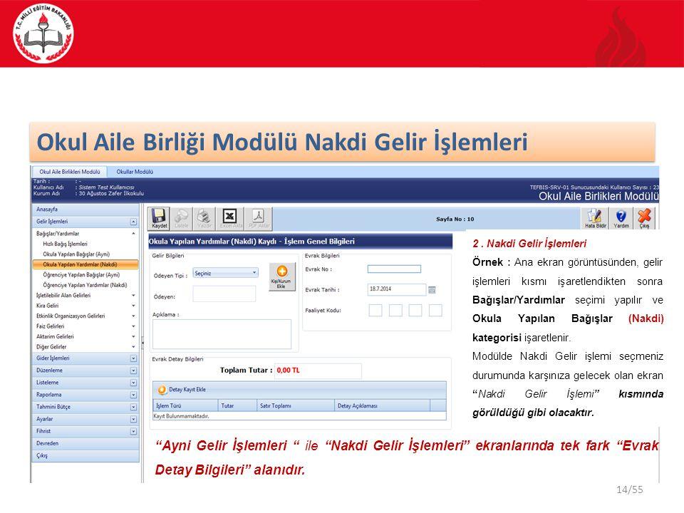 14/55 Okul Aile Birliği Modülü Nakdi Gelir İşlemleri 2. Nakdi Gelir İşlemleri Örnek : Ana ekran görüntüsünden, gelir işlemleri kısmı işaretlendikten s