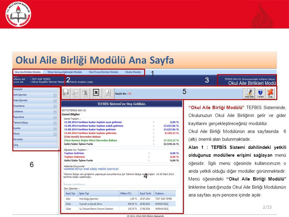 3/55 Okullar Modülü Ana Sayfa Alan 2 : TEFBİS Sisteminde tanımlı olan kullanıcı bilgileriniz gösterilmektedir.