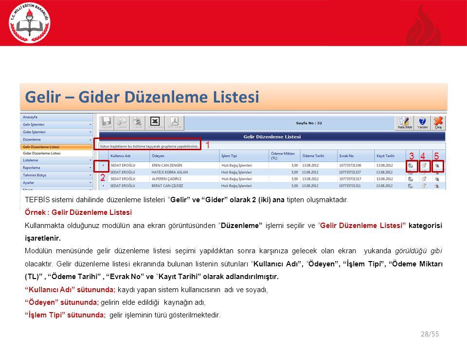 """28/55 Gelir – Gider Düzenleme Listesi TEFBİS sistemi dahilinde düzenleme listeleri """"Gelir"""" ve """"Gider"""" olarak 2 (iki) ana tipten oluşmaktadır. Örnek :"""