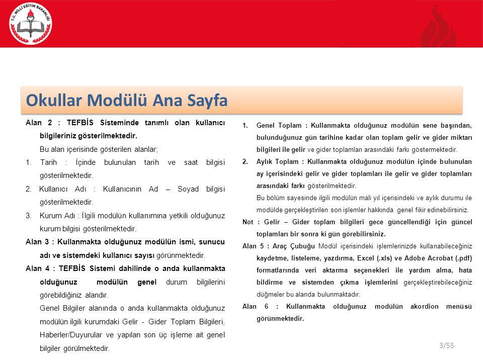 3/55 Okullar Modülü Ana Sayfa Alan 2 : TEFBİS Sisteminde tanımlı olan kullanıcı bilgileriniz gösterilmektedir. Bu alan içerisinde gösterilen alanlar;