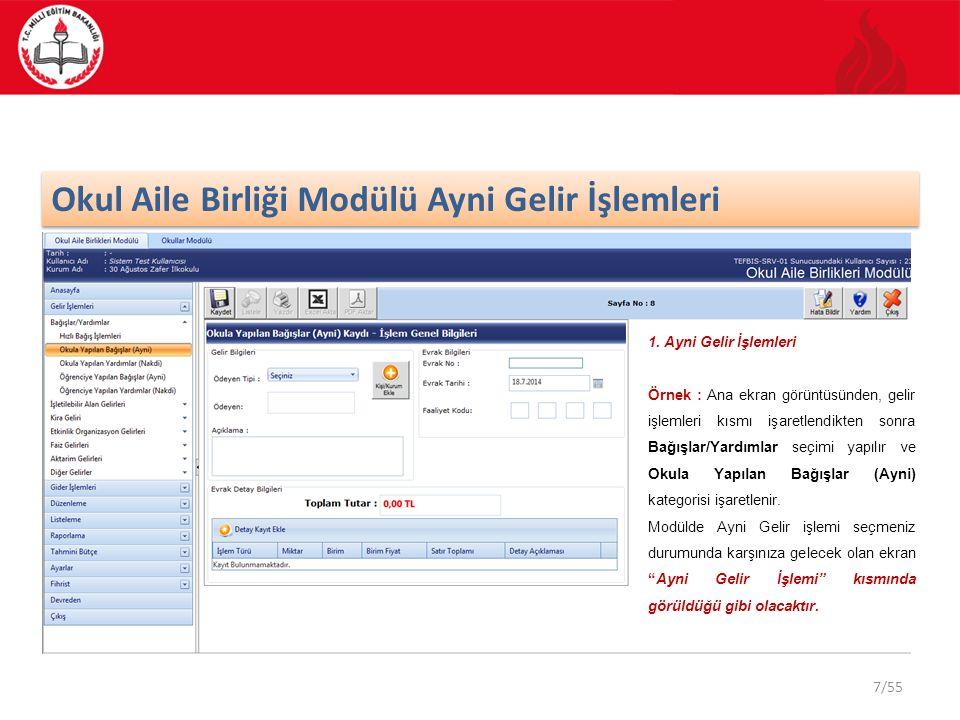 28/55 Gelir – Gider Düzenleme Listesi TEFBİS sistemi dahilinde düzenleme listeleri Gelir ve Gider olarak 2 (iki) ana tipten oluşmaktadır.