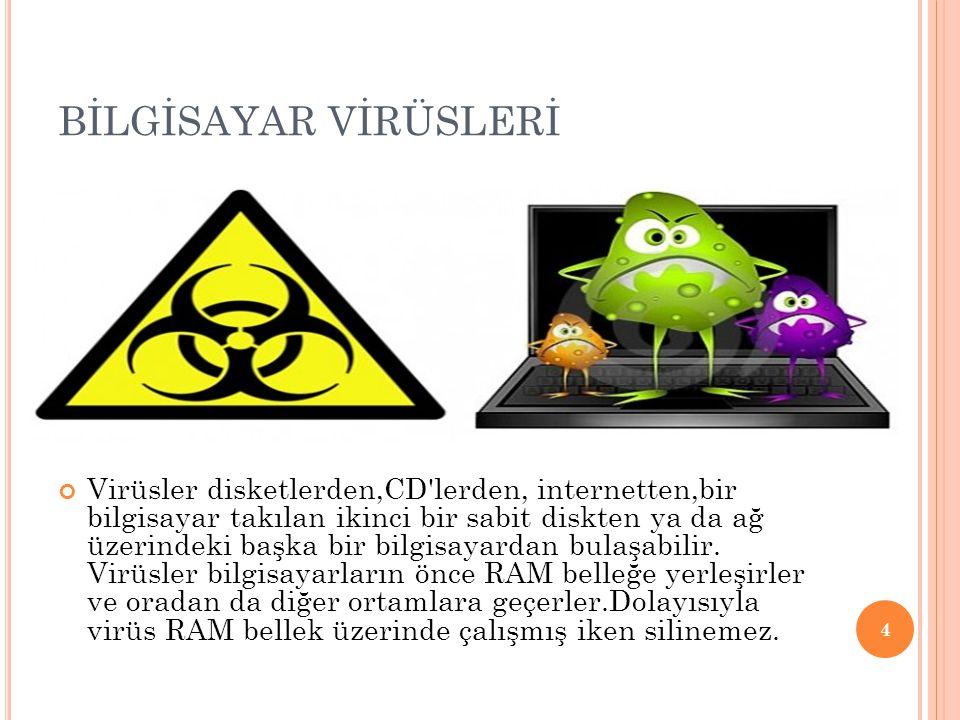 BİLGİSAYAR VİRÜSLERİ Virüsler disketlerden,CD'lerden, internetten,bir bilgisayar takılan ikinci bir sabit diskten ya da ağ üzerindeki başka bir bilgis