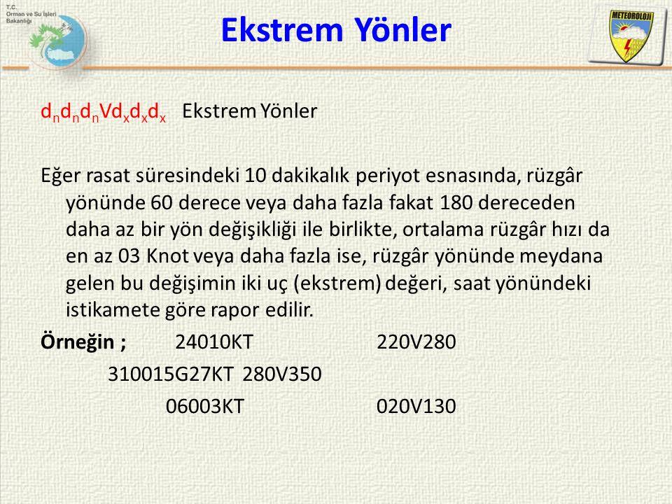 Ekstrem Yönler d n d n d n Vd x d x d x Ekstrem Yönler Eğer rasat süresindeki 10 dakikalık periyot esnasında, rüzgâr yönünde 60 derece veya daha fazla