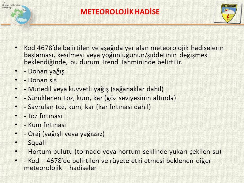 METEOROLOJİK HADİSE Kod 4678'de belirtilen ve aşağıda yer alan meteorolojik hadiselerin başlaması, kesilmesi veya yoğunluğunun/şiddetinin değişmesi be