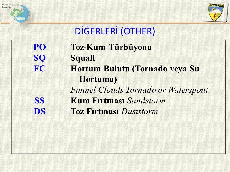 DİĞERLERİ (OTHER) PO SQ FC SS DS Toz-Kum Türbüyonu Squall Hortum Bulutu (Tornado veya Su Hortumu) Funnel Clouds Tornado or Waterspout Kum Fırtınası Sa
