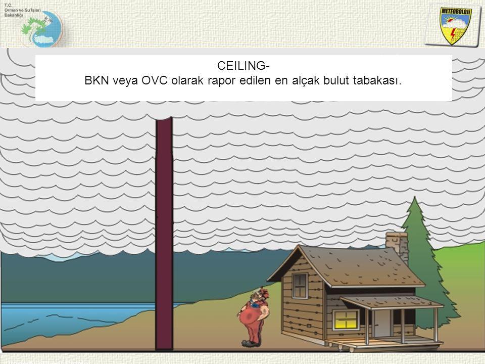 Property of Lear Siegler CEILING- BKN veya OVC olarak rapor edilen en alçak bulut tabakası.
