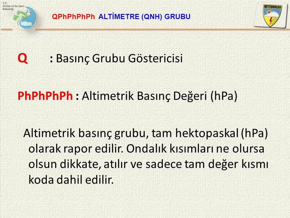 Q : Basınç Grubu Göstericisi PhPhPhPh : Altimetrik Basınç Değeri (hPa) Altimetrik basınç grubu, tam hektopaskal (hPa) olarak rapor edilir. Ondalık kıs