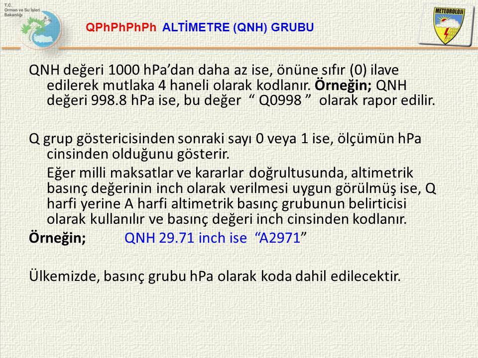 """QNH değeri 1000 hPa'dan daha az ise, önüne sıfır (0) ilave edilerek mutlaka 4 haneli olarak kodlanır. Örneğin; QNH değeri 998.8 hPa ise, bu değer """" Q0"""