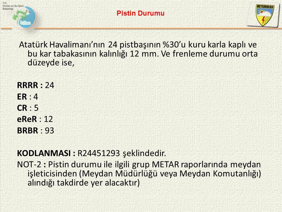Atatürk Havalimanı'nın 24 pistbaşının %30'u kuru karla kaplı ve bu kar tabakasının kalınlığı 12 mm. Ve frenleme durumu orta düzeyde ise, RRRR : 24 ER